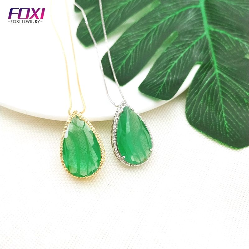 Foxi Wholesale Costume Big Size Jewelry Semi Joias Brazilian Fusion Stone 18k Gold Plated Brass Pendant Necklace