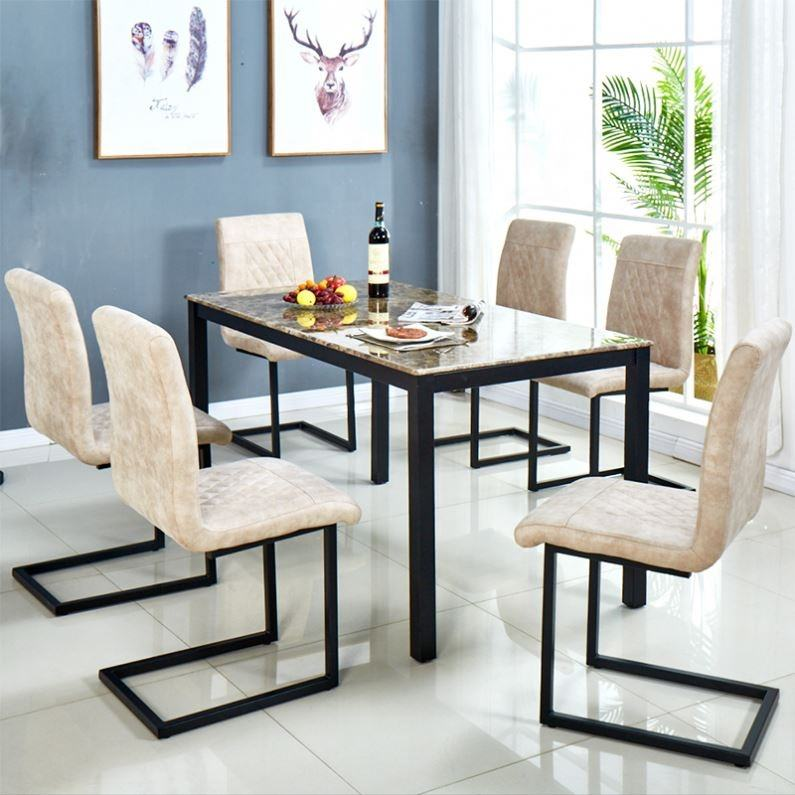 Italian Dining room furniture Luxury cheap dining table Classic Marble tempered glass Dining Table Set