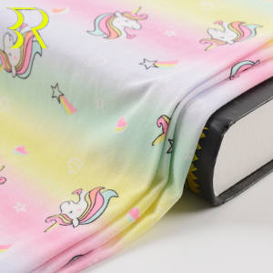 Colorful Children Horse Design DTY Brushed Recycled 95%Polyester 5%Spandex Pajama Fabric For Kids Underwear Clothes