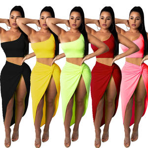 Two Piece Set Women Clothing One Shoulder Tops Side Ruched High Split Dress Female