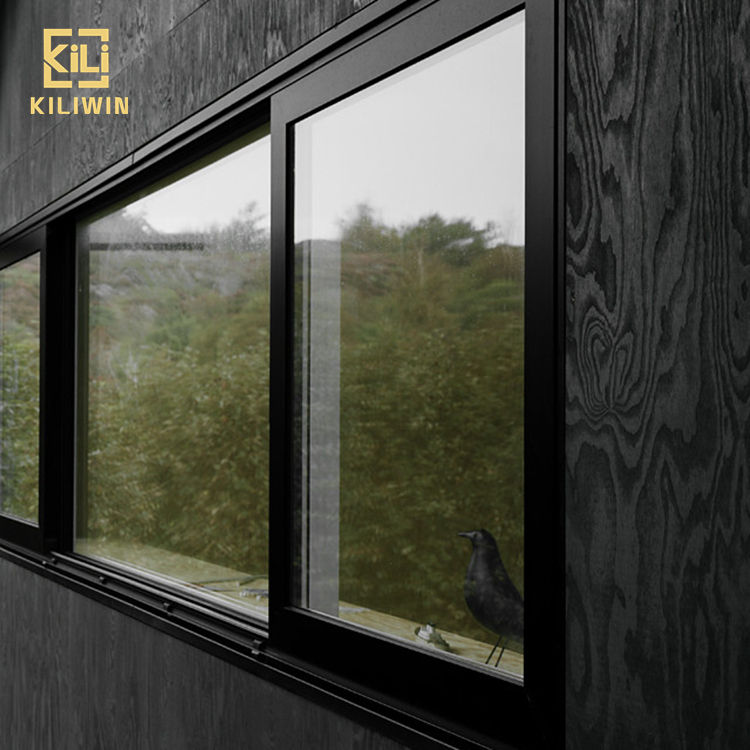 Australia standard residential house interior kitchen black waterproof soumdproof aluminum tempered glass sliding window