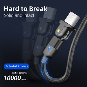 180 Degree usb fast charging cable charger for Iphone Xr Micro USB Type charging data cable