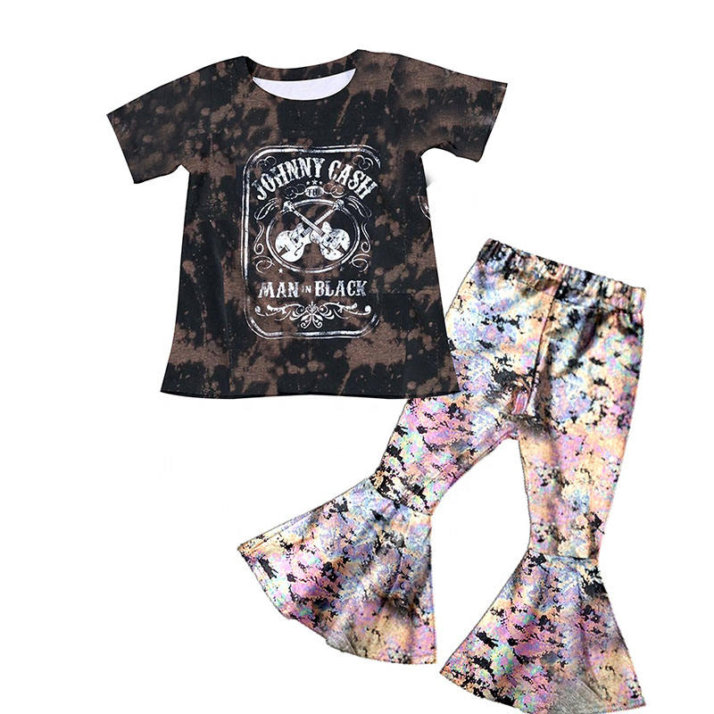 Baby girls wholesale children clothes johnny cash print shirt top big ruffle bell bottom pants kids clothing sets