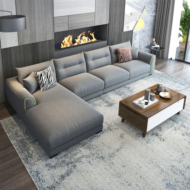L Shaped Corner Couch Fabric Sofa Set