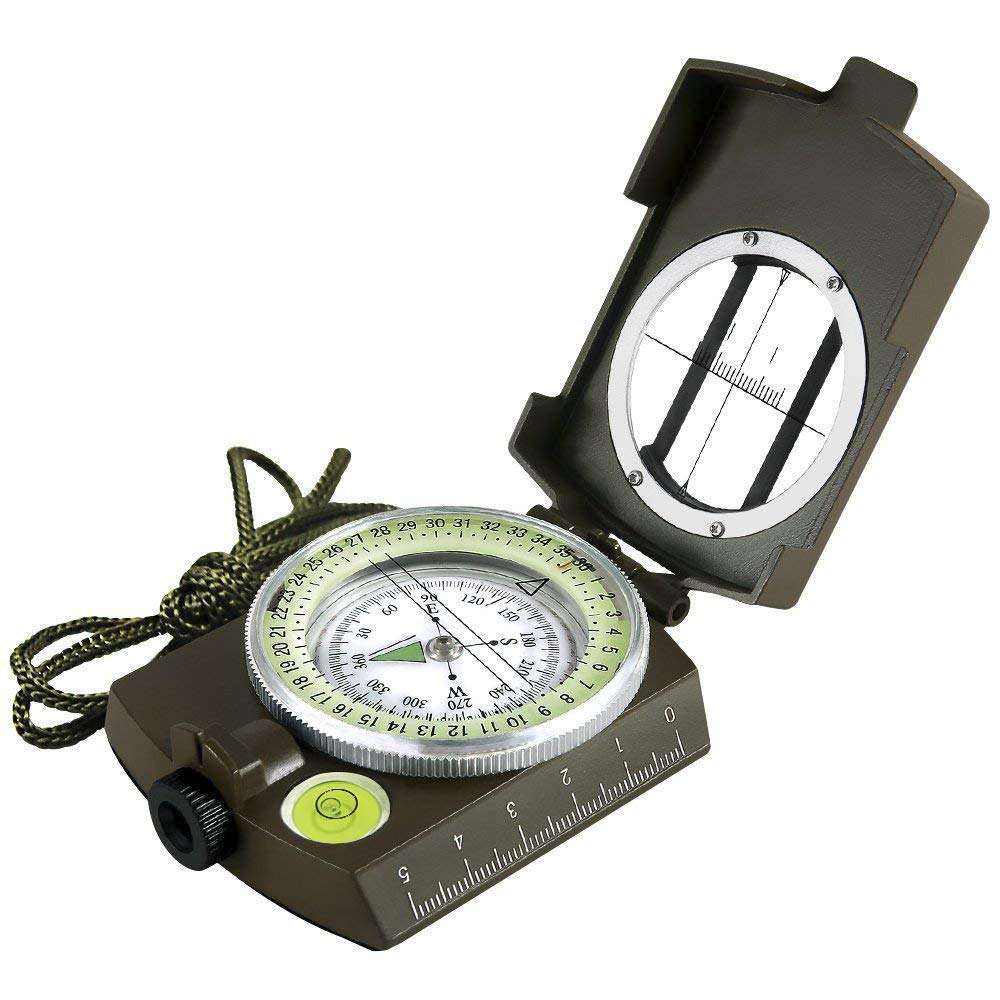Multifunctional Military Lensatic Compass Tactical Compass and Waterproof Metal Sighting Navigation Compasses for Hiking