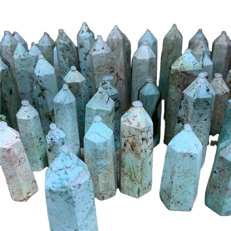 Natural crystal Generator phoenix turquoise tower America turquoise Crystal wand Chrysocolla point