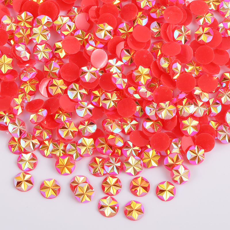 Fashion 5mm Jelly Siam AB Crystal Flower Stickers Non Hotfix Strass Flatback Resin Rhinestones For DIY Crafts