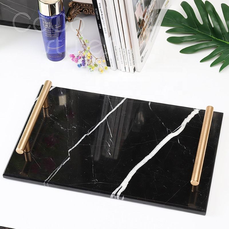 Cocostyles bespoke mysterious rectangular marble serving trays with electroplating handles for moden American style home decor
