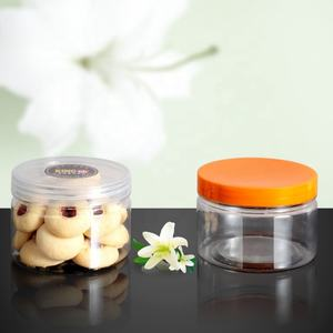 food safe 250ml clear plastic jar with screw plastic lid for cookie candy