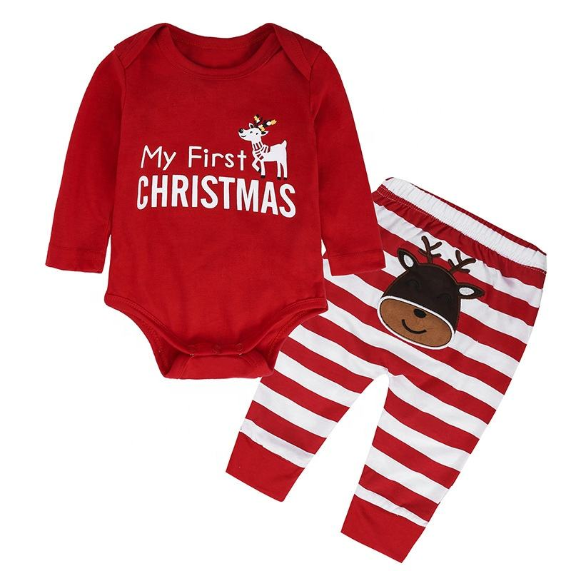 Christmas romper deer long-sleeved two-piece jumpsuit hot toddler style