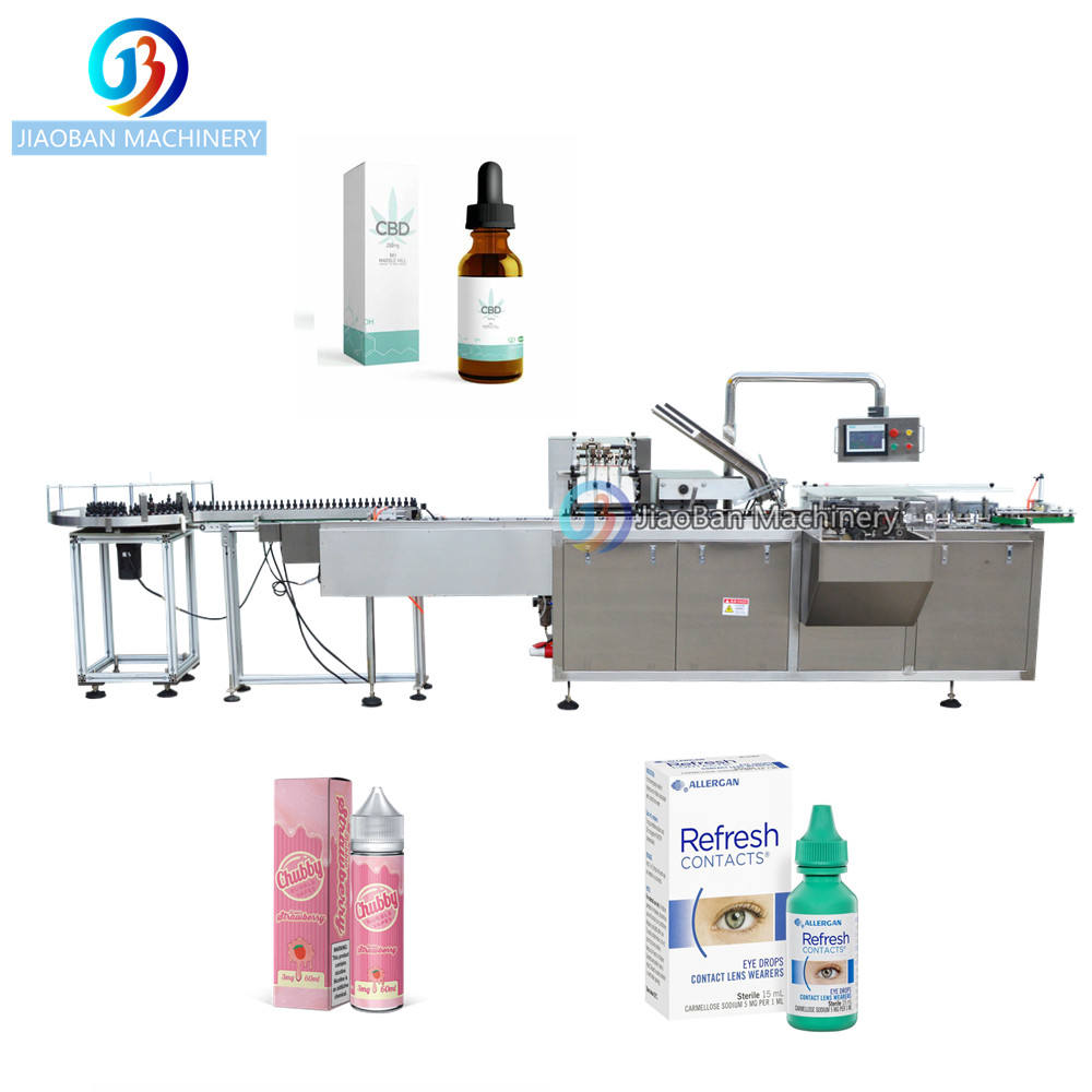 JB-120WZ Factory Price Automatic cbd oil essential oil eye dropper packaging cartoning machine