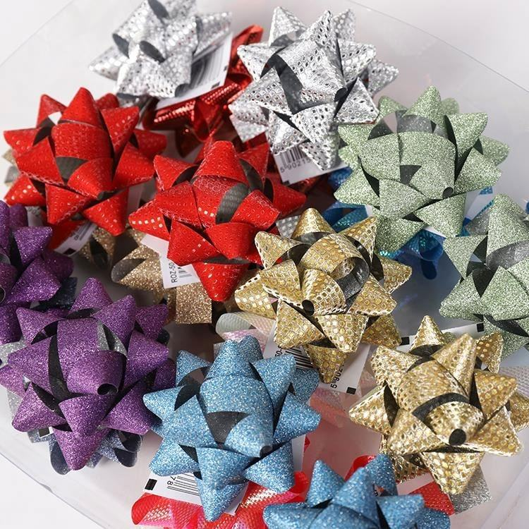 24 Pieces 2 Inch Diameter Assorted Color Christmas Decoration Gift Ribbon Star Bow Set
