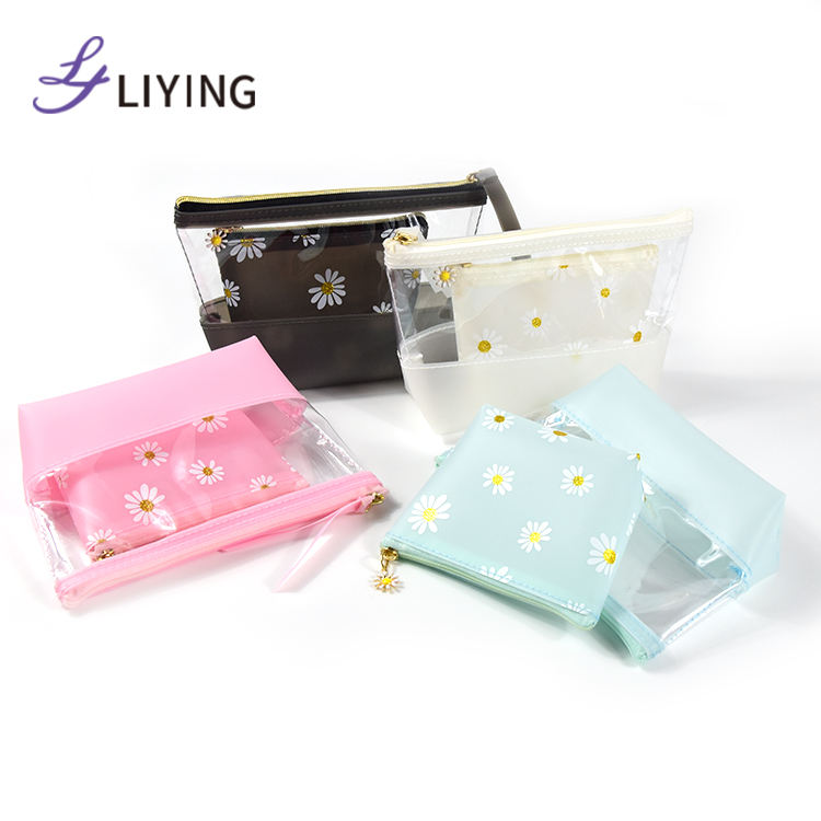 Factory wholesale new design cosmetic bag makeup pouch transparent clear bulk cosmetic bags