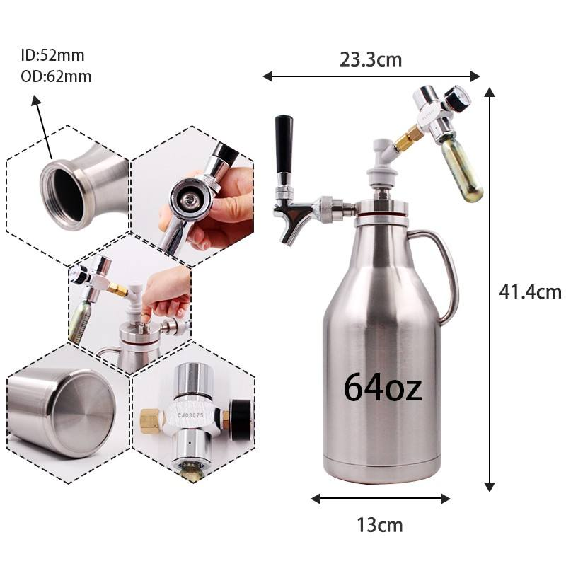 64oz stainless steel insulator home brew growler beer bottle