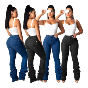 2020 Casual Fashion Lady Long Length Pencil Denim Pants High-Waisted Women Stacked Jeans