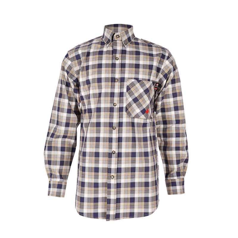 wholesale 7oz fr cotton nylon fire resistant fr plaid shirt