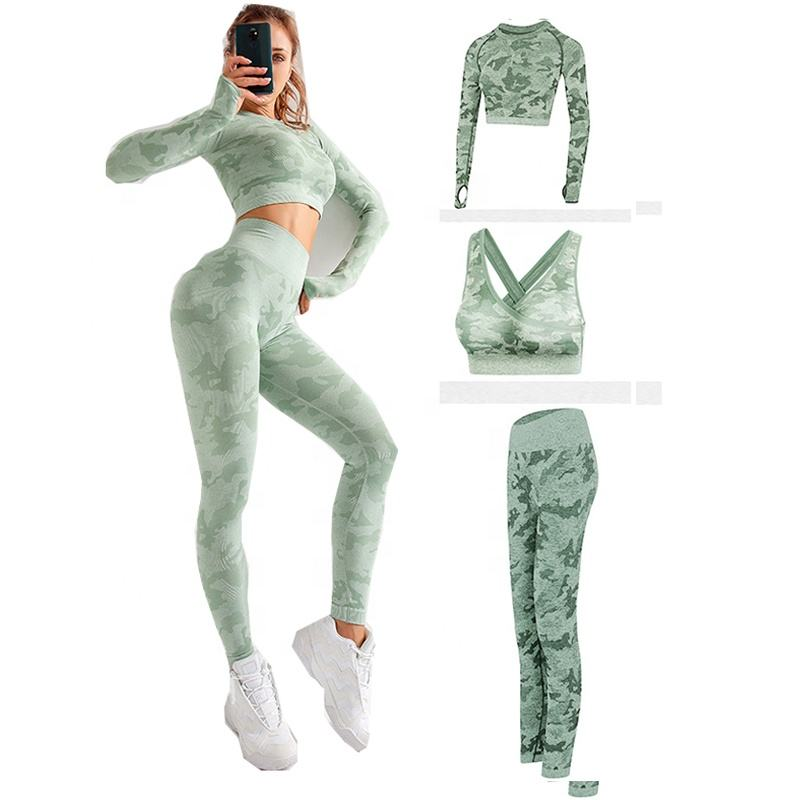 3 pieces active wear yoga set women new camo colored seamless leggings high waisted sport bra top fitness pant