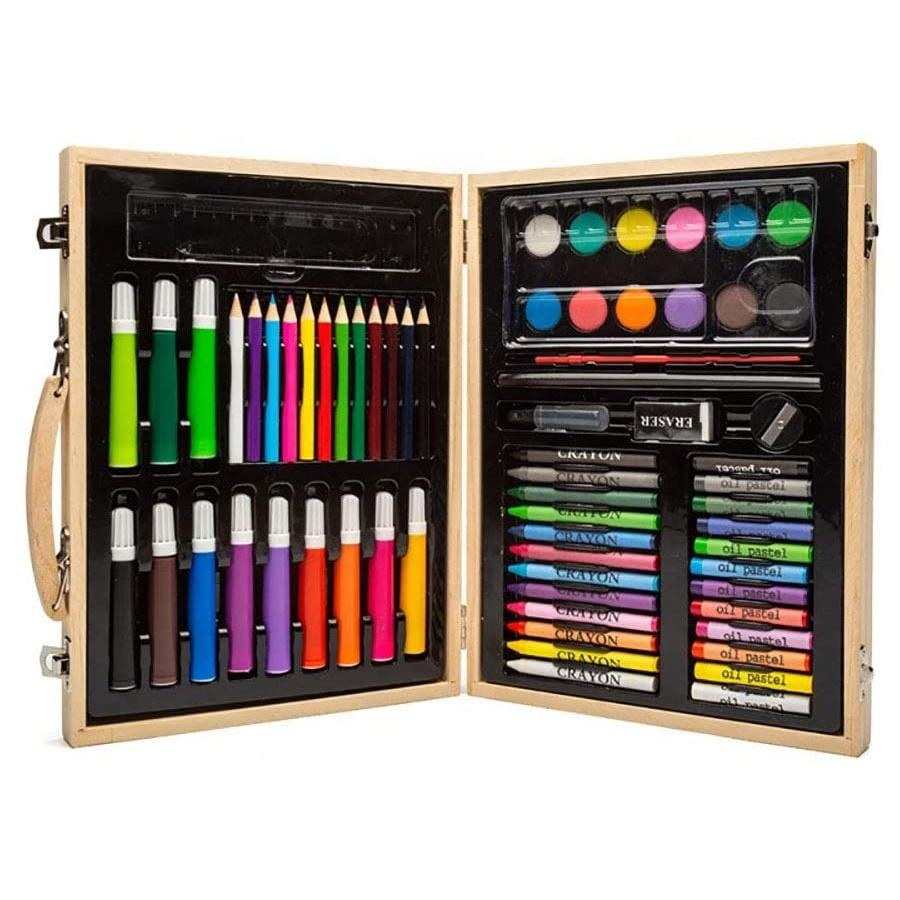 68 Pcs Wooden Box Colored Pencil Set Watercolor Brush Pens Drawing Painting Art Sets for Kids Stationery Kit Gift