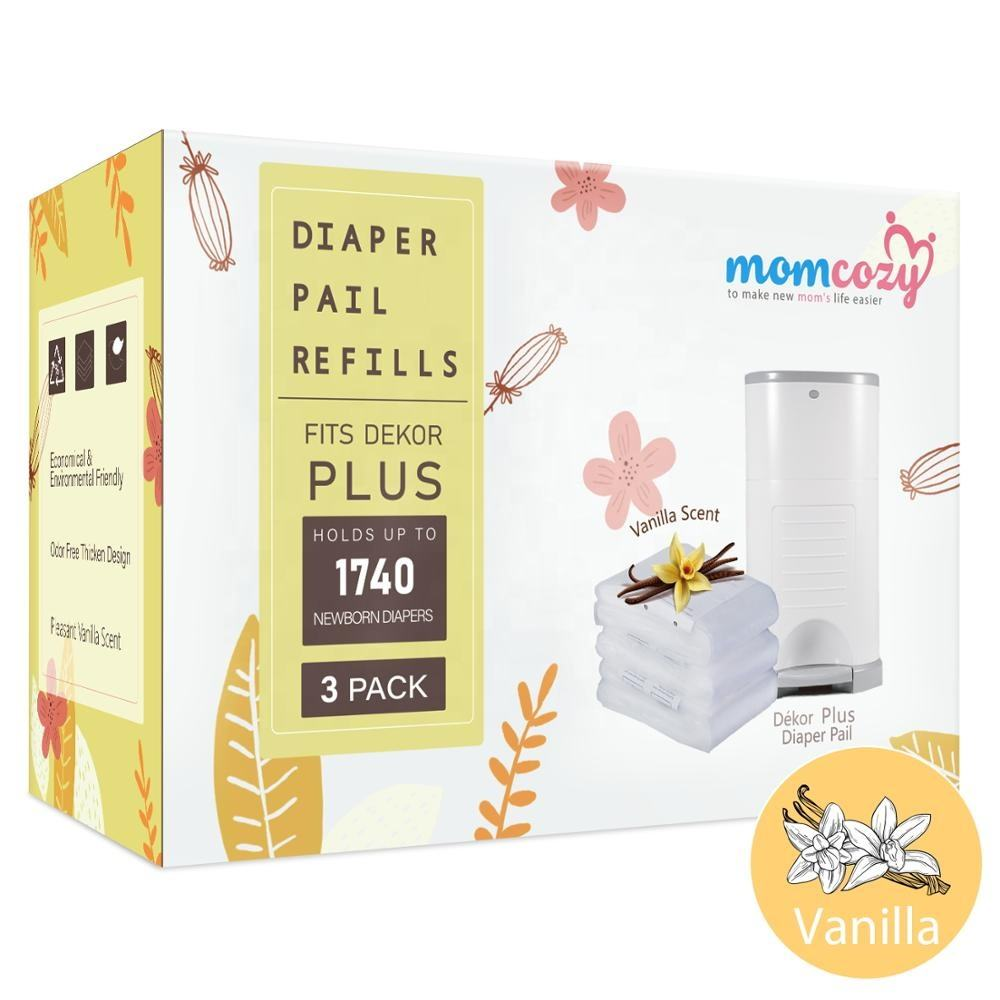 Momcozy 3 Count Dekor Plus Refills Vanilla Scent 22 Layers Extra Thickness Fits Dekor Plus Size Diaper Pails Biodegradable