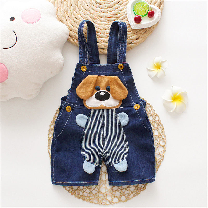 Latest summer children clothing newborn toddler big ear dogs baby jeans overalls baby denim romper