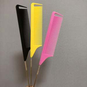 Bright Pink Parting Comb Custom Customized Precision Black Pre Stretched Braiding Hair Rose Gold Precision Combs