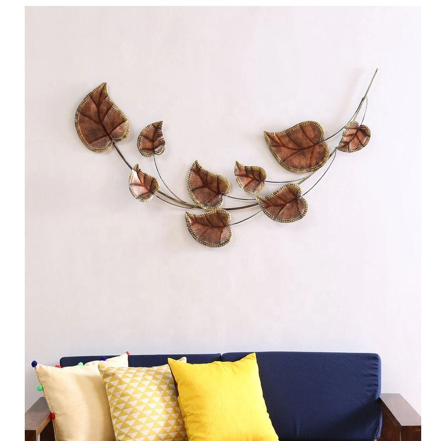 Beautiful Decorative Copper Antique Leaves Metal Wall Art For Home Decor