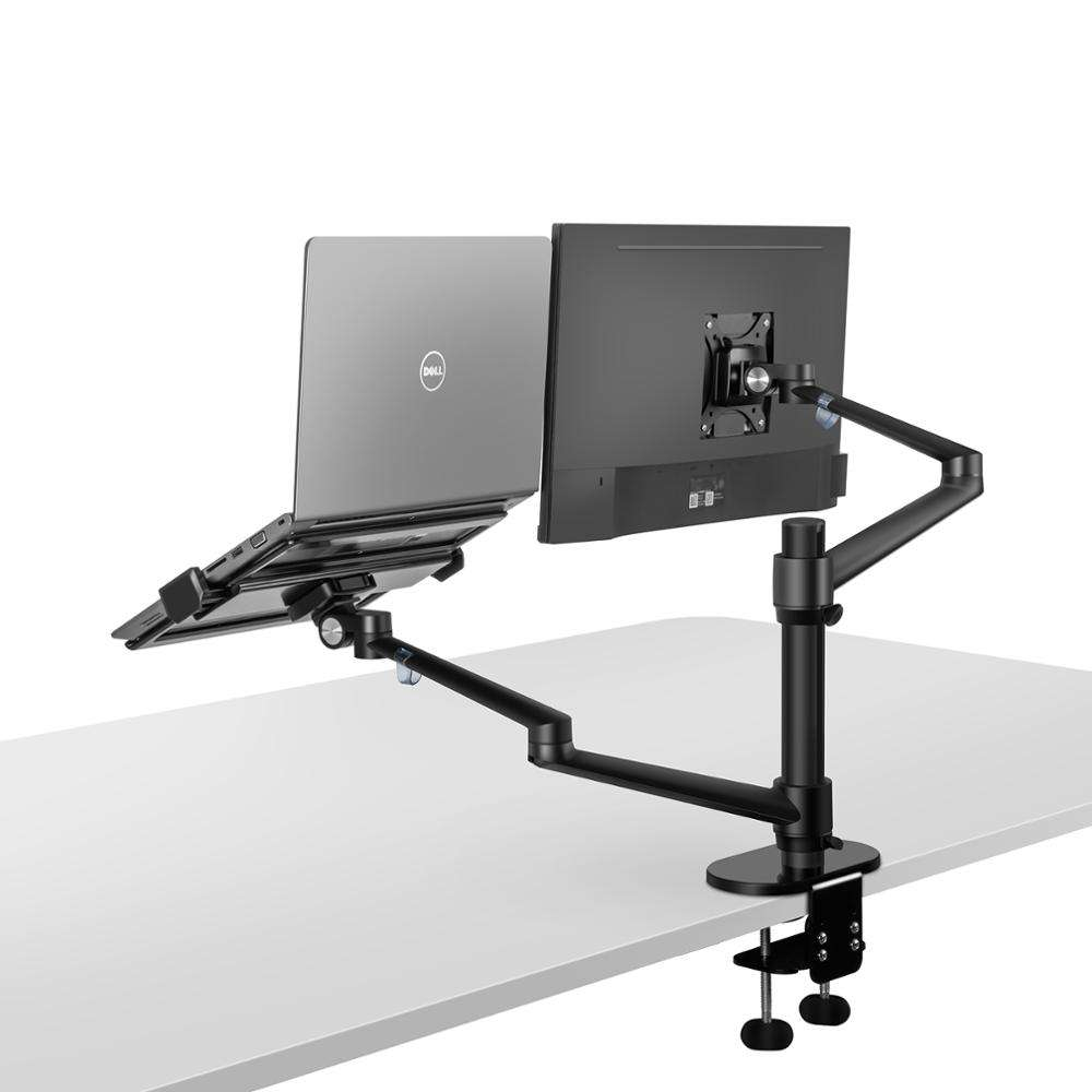 Aluminum Multimedia Desktop 27 inch LCD Monitor Holder+ Laptop Holder Stand Table Dual Monitor Mount Arm desktop stand