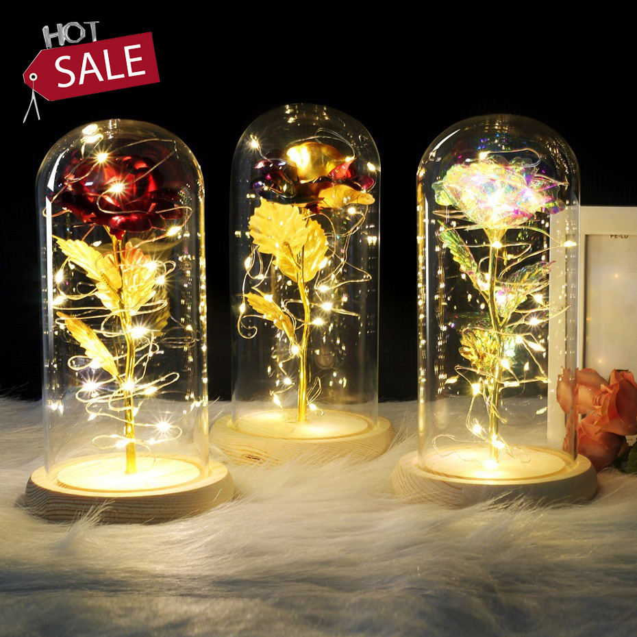 Artificial Valentine's Day Gifts enchanted Golden Rose Led Lamp 24k Gold Foil Rose in Glass Dome Decorative Flowers With lights