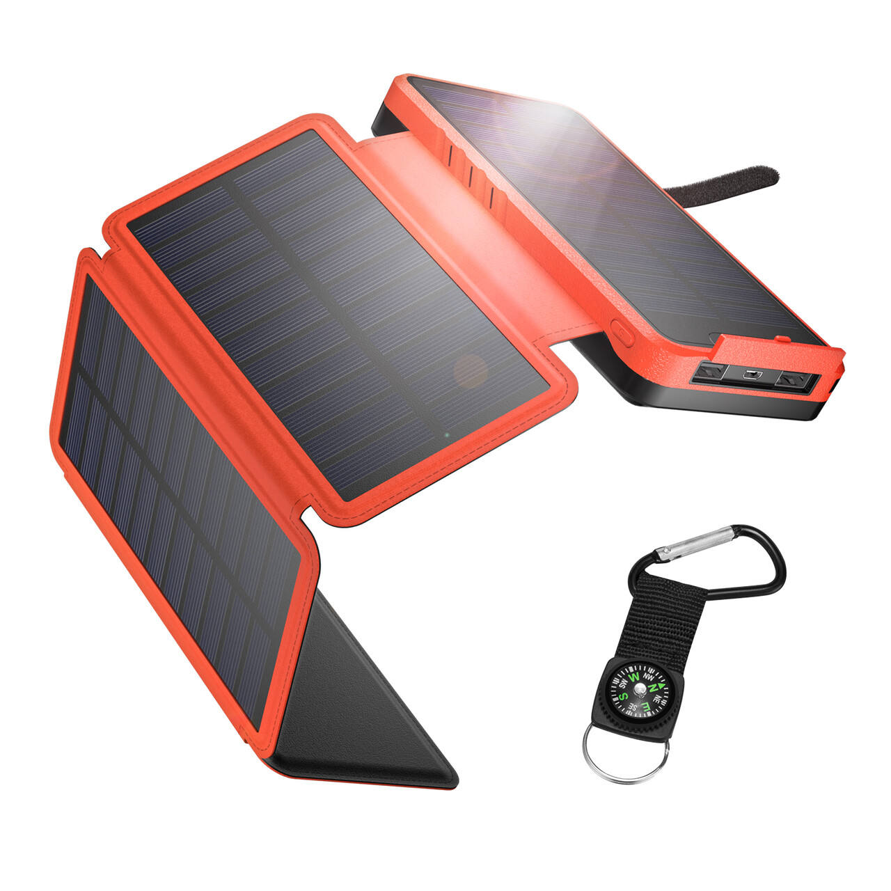 Huge Capacity 26800mah Portable Solar Power bank charger with 4 Foldable solar panels for outdoor activity