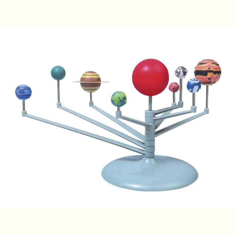 Kids diy self painting assembling Nine planets solar system toy