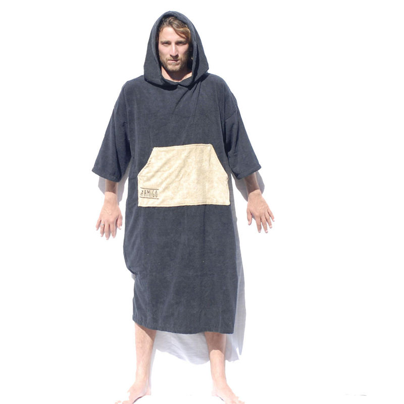100% Cotton Custom High Quality Low MOQ Custom Microfiber Adult Surf Poncho Hooded Towel Poncho Towel Surfing Changing Poncho