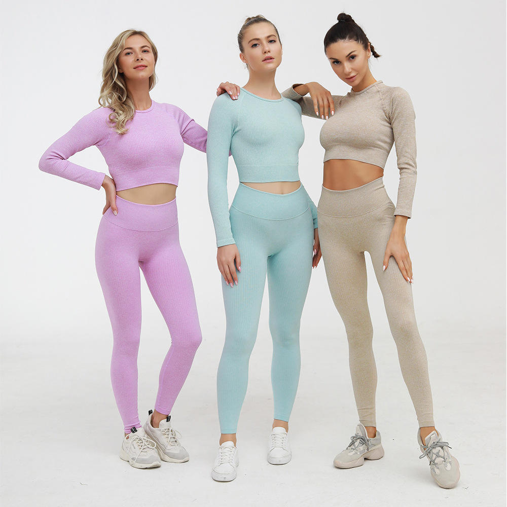 Women plain seamless 2 piece yoga set ribbed Yoga Set Women Gym Fitness Clothing sports wear seamless yoga pants