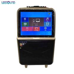 hot sale 14.1inch LED screen portable trolley wireless video speaker with fm radio, tv for outdoor activites, singing karoke
