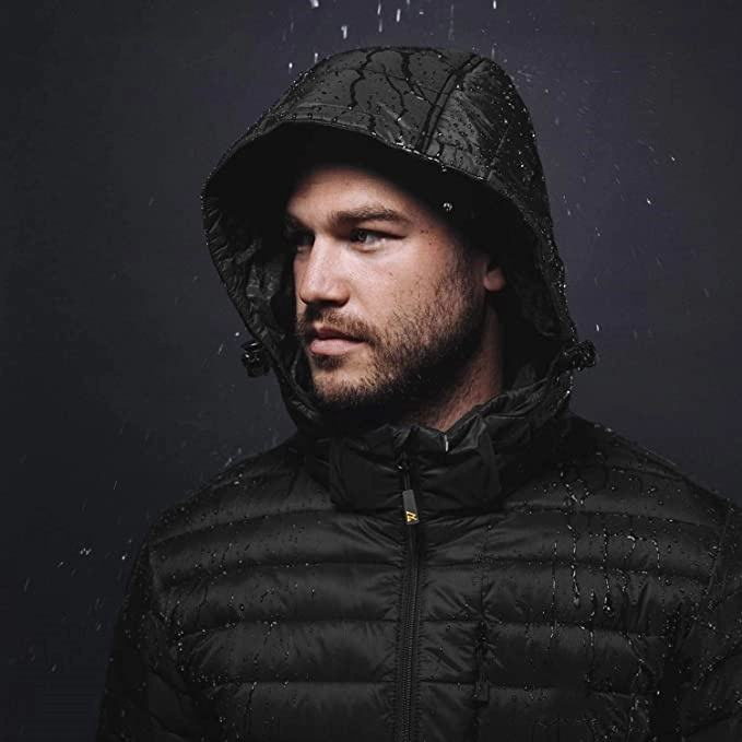 Graphic Customization USB Heated Jacket Winter Down Waterproof Jacket For Men With Detachable Hood
