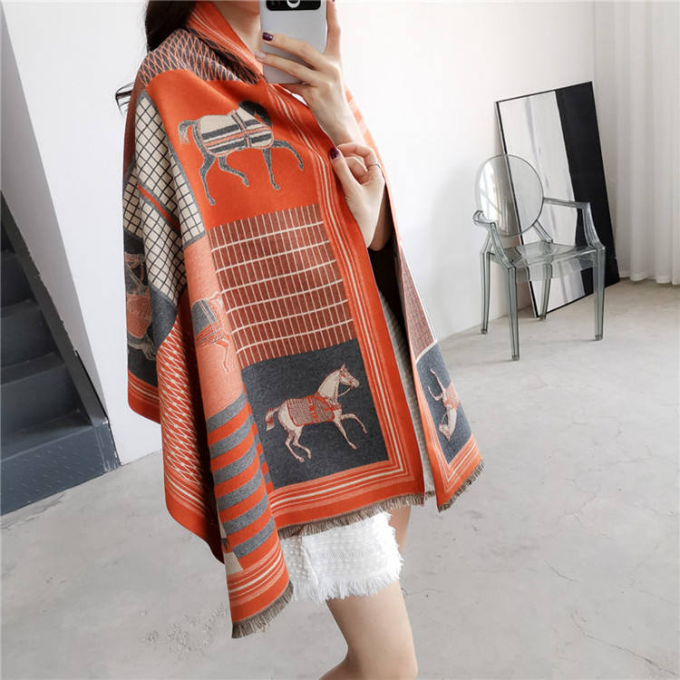2019 Winter Latest Design Style Women Horse Jacquard Scarf Pashmina Cashmere Warm Thick Shawls Scarfs