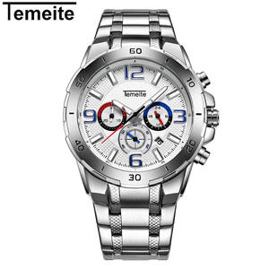 Temeite 001G Perak Jam Tangan Kuarsa Hot Sale 3 Dial 24 Jam Chronograph Tanggal Tahan Air Bisnis Watch supplier