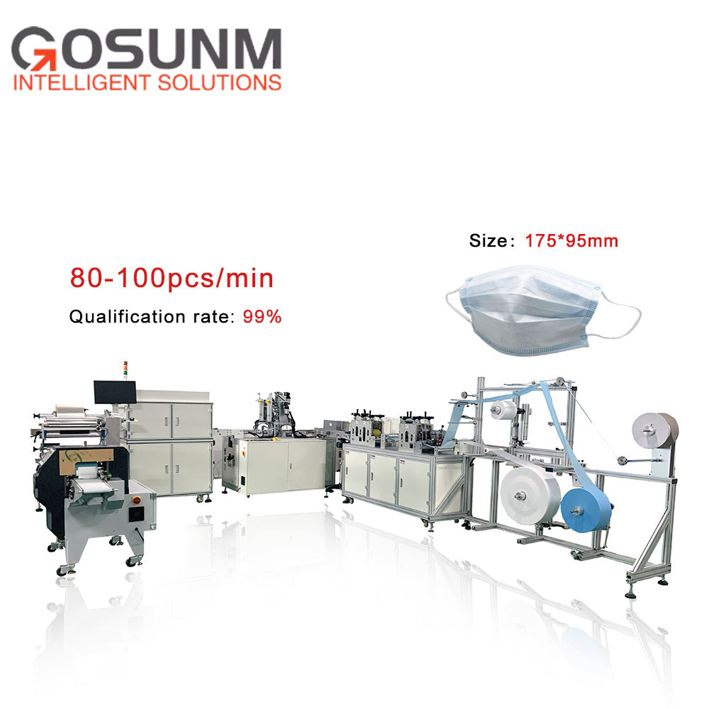 1+1 Full-Auto Disposable Flat Non Woven Face Mask Making Machine with CCD Inspection + Packaging Production Line
