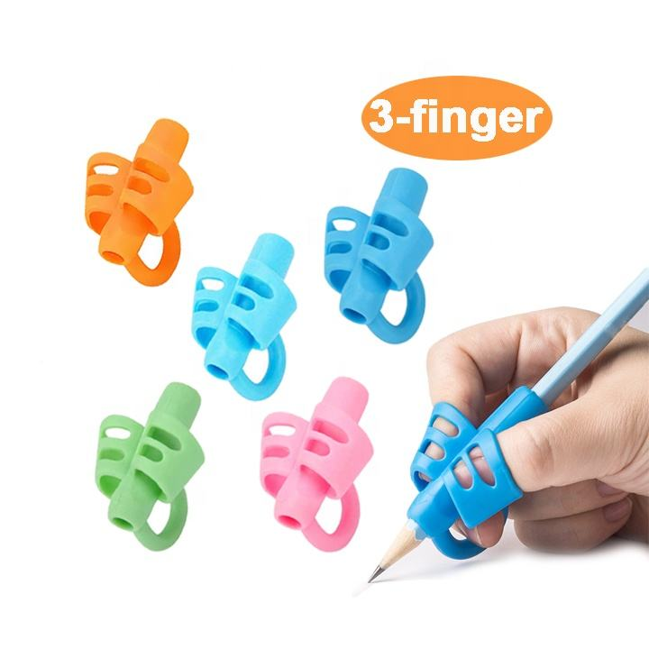 Wholesale Writing Aid Grip Posture Correction Tool 3-Finger Pencil Grips Soft Rubber Pencil Gripper for Kids Handwriting