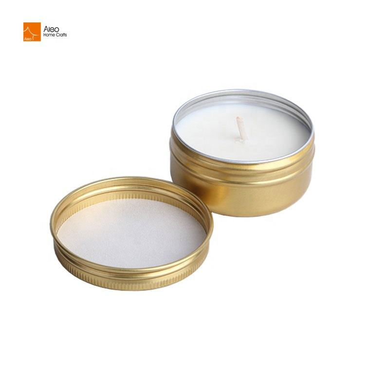Customized Logo Hours Scented Gold Tin Cheap Mini 100% Soy Wax Tealight Candle For Parties