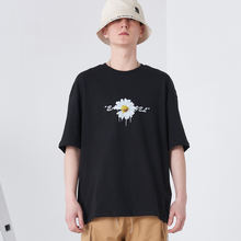 2020 New design Daisy print fashion short sleeve black t shirt Men's