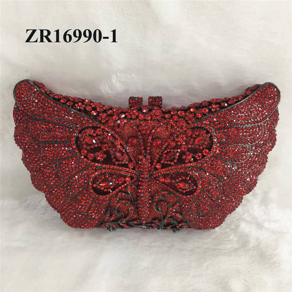 ZR1690 Wine color lovely crystal even bag clutch crystal stone bag wedding party