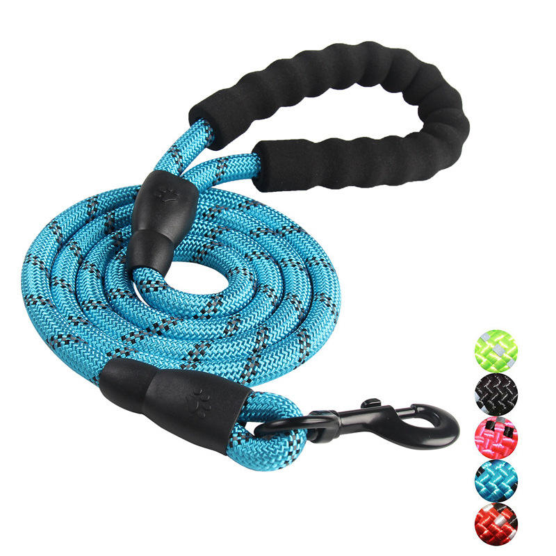 Highly Strong Reflective Round Nylon Rope Pet Dog Leash with Comfortable Padded Handle