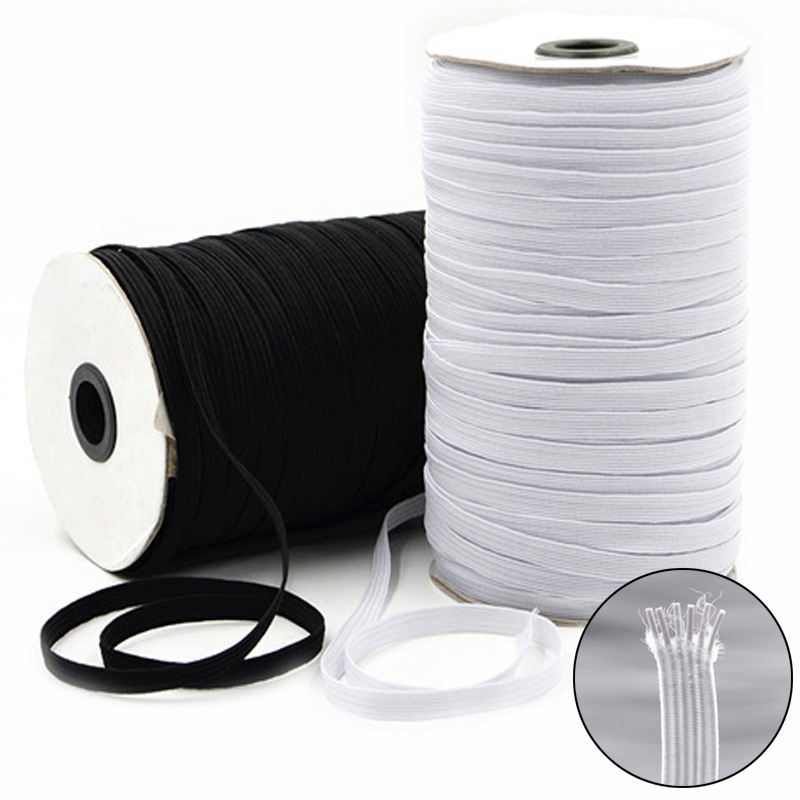 factory high quality 6mm white black color woven elastic band knitted rubber elastic braid band for garment pants