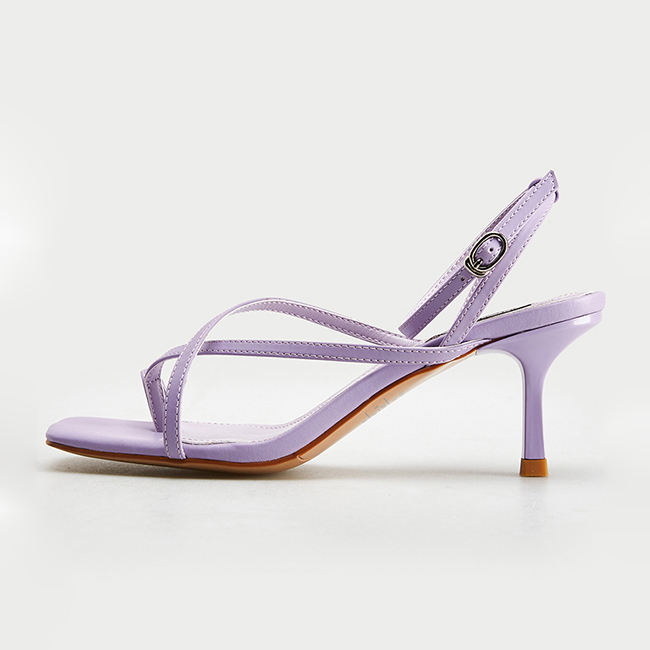 Guangdong Shoes Supplier Purple Ankle Strap Toe Ring Cocktail Party Lady Thin Heel Sandal