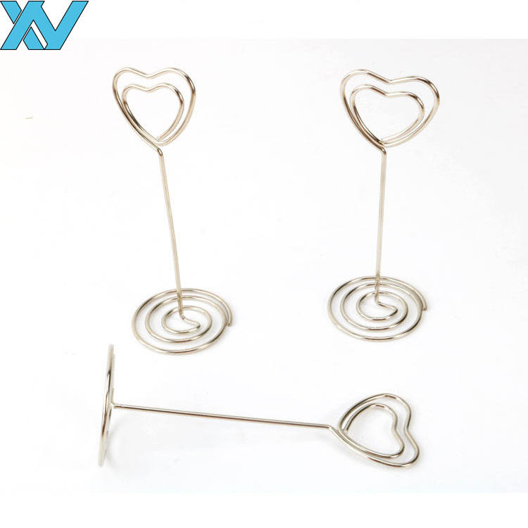 85mm silver metal wire heart shape business card holder memo clip