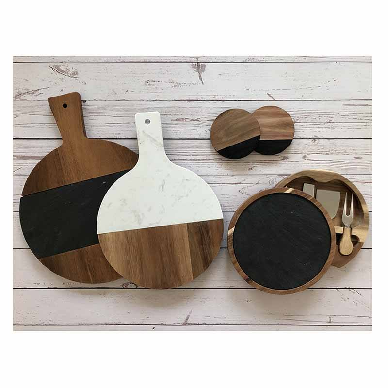 Best Selling Italian White Plain Mini Acacia Wooden Marble Cheese Board With Cutlery