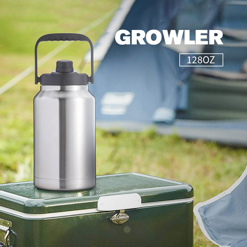 Easy To Carry Pours Smooth Stainless Steel Vacuum Insulated 128 Oz Beer Growler 1 Gallon Gallon Water Bottle With Hand