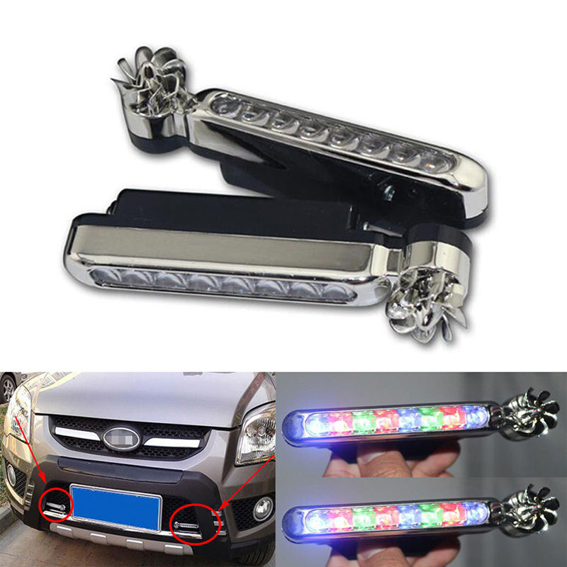 1 Pair LED Wind Powered Vehicle Lights Car Lamp No Need External Power Supply Car Daytime Running Lights with Rotation Fan Auto