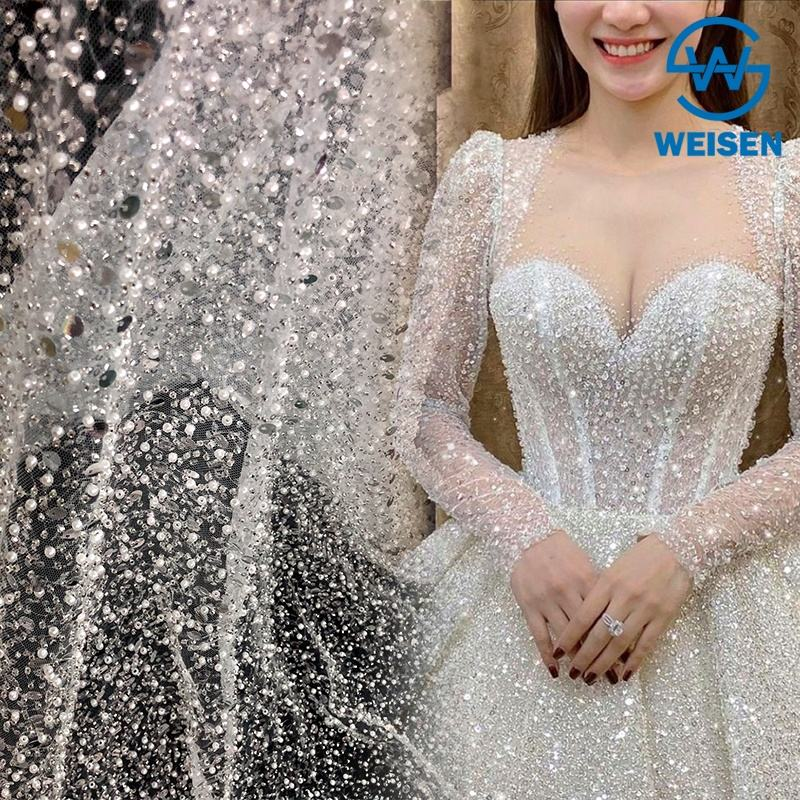 Crystal Sequins Bridal Luxury Embroidery Beads Wedding Tulle White Beaded Lace Fabric