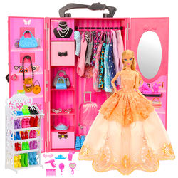 Fashion Dollhouse Furniture 73 Items/Set=Wardrobe +16 Clothes +10 Shoes +10 Hanger +10 Bags +26 Accessories For Barbie DIY Game